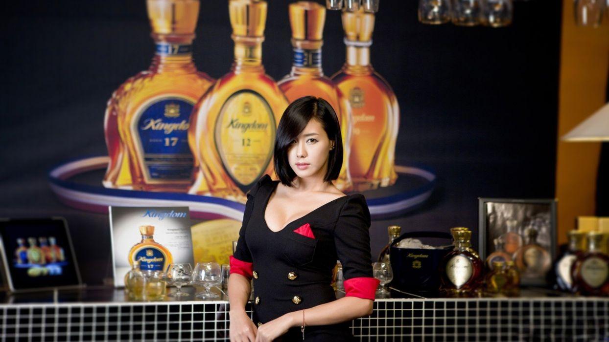 women models alcohol celebrity Asians Korean Kim Ha Yul liquor black hair wallpaper