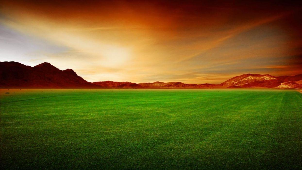 mountains landscapes grass fields wallpaper