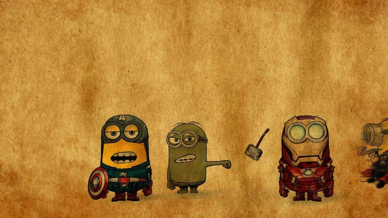 Iron Man Thor funny hammer Despicable Me angry minions crossovers punch singing Avengers punching Hulk wallpaper