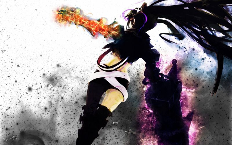 boots Black Rock Shooter back fire long hair belts weapons armor twintails shorts anime girls Insane Black Rock Shooter swords hair ornaments black hair wallpaper