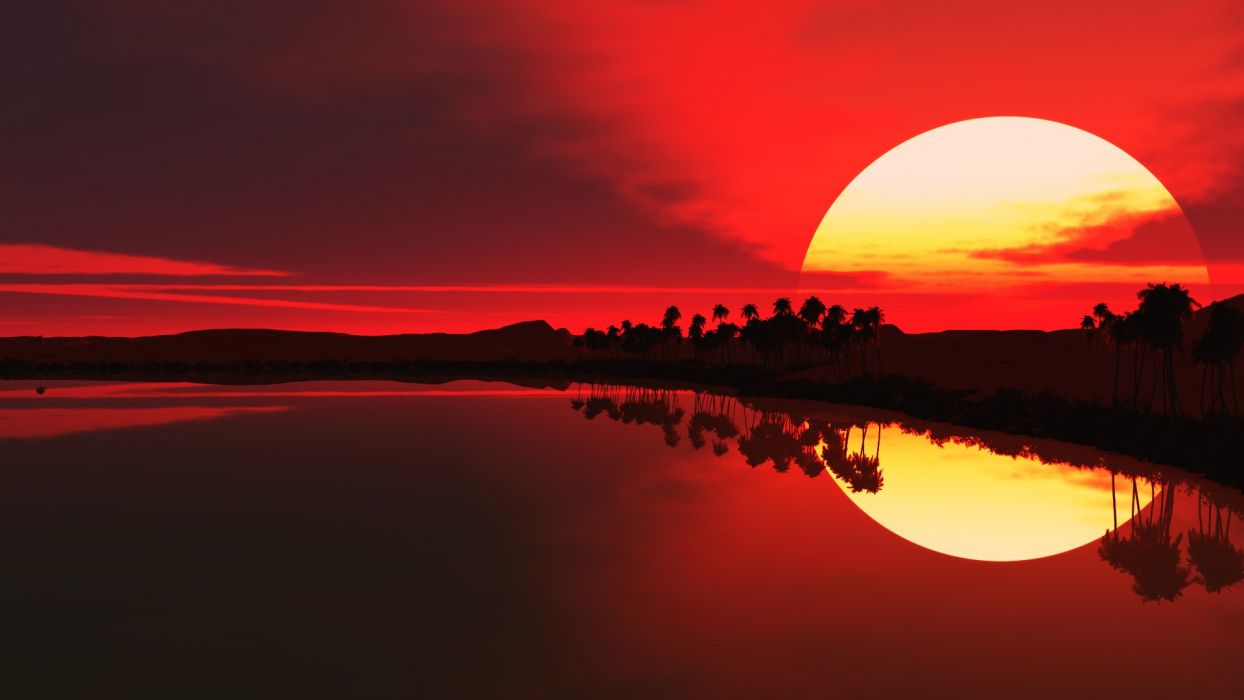 water sunrise red palm trees lakes sillhouette wallpaper
