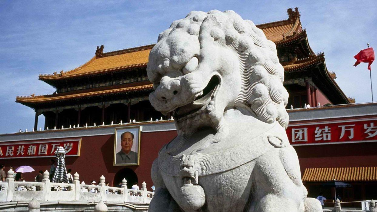 China peace gate Beijing Tiananmen Square Asian architecture wallpaper