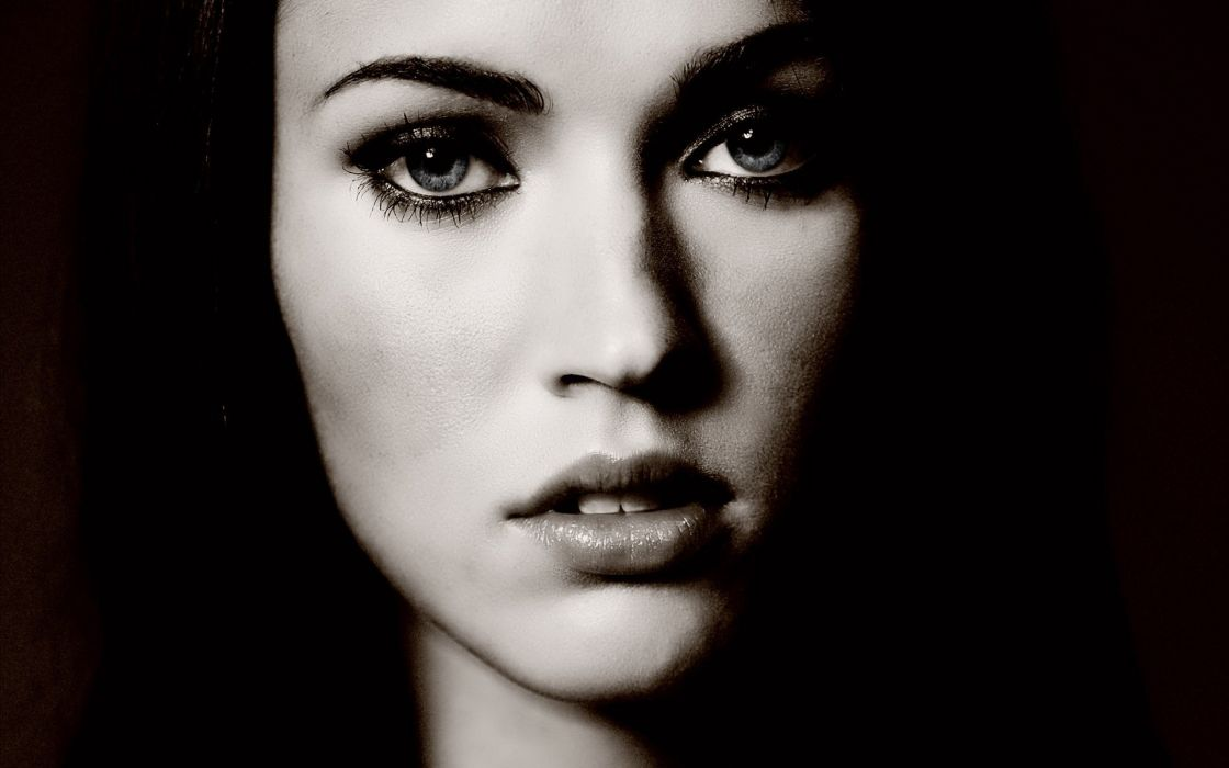 women black and white Megan Fox actress faces wallpaper
