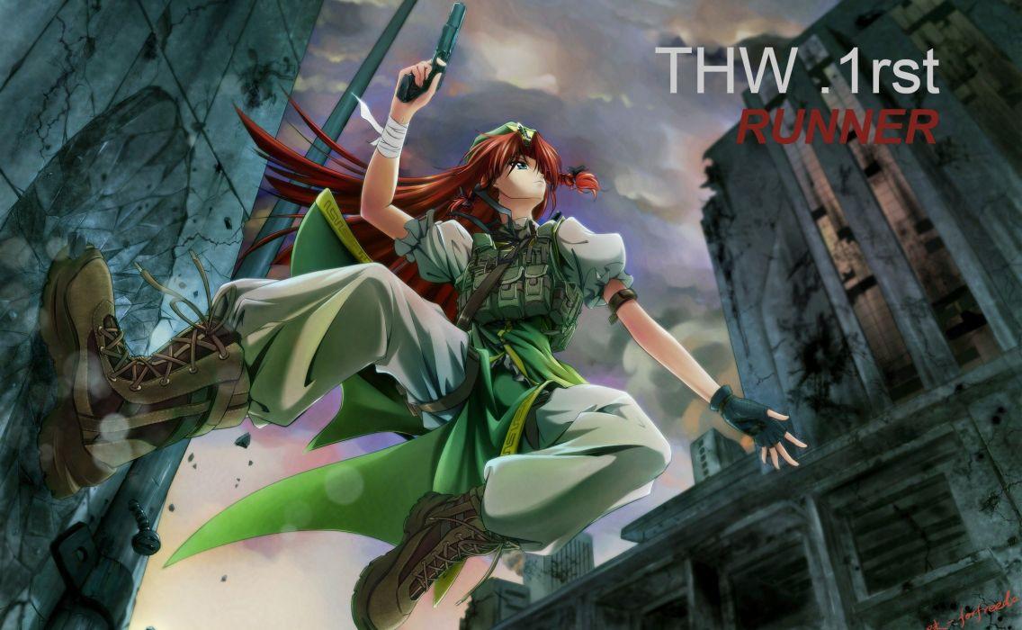 boots video games Touhou red gloves blue eyes redheads long hair braids hair ribbons Hong Meiling wallpaper