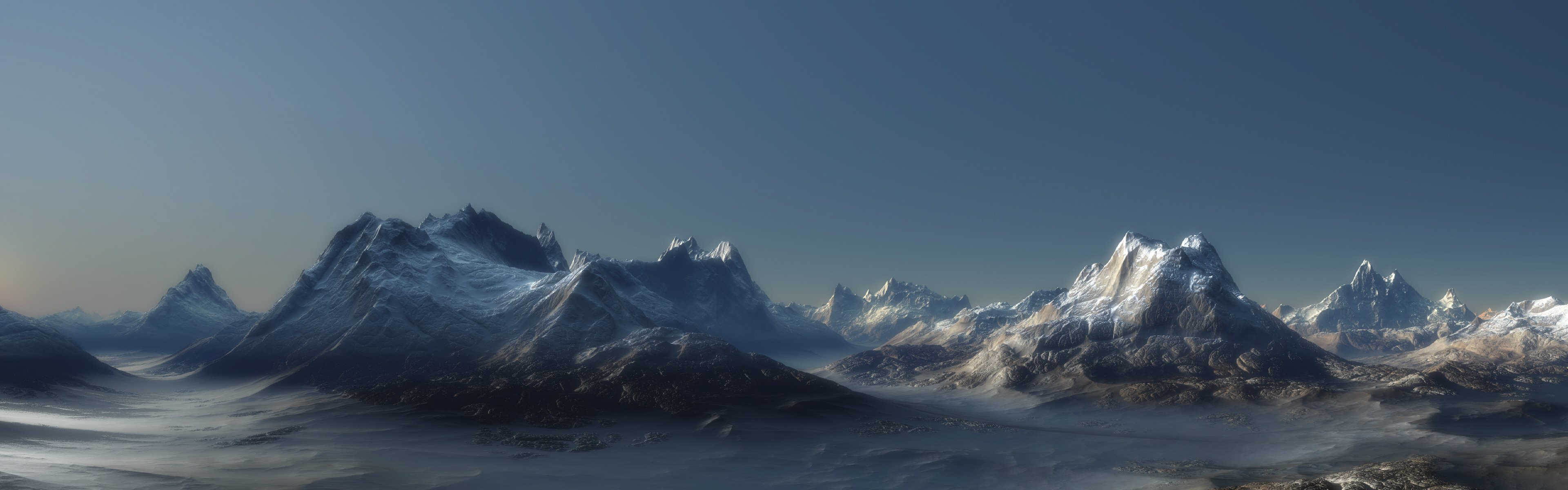 Mountains landscapes panorama wallpaper 3840x1200
