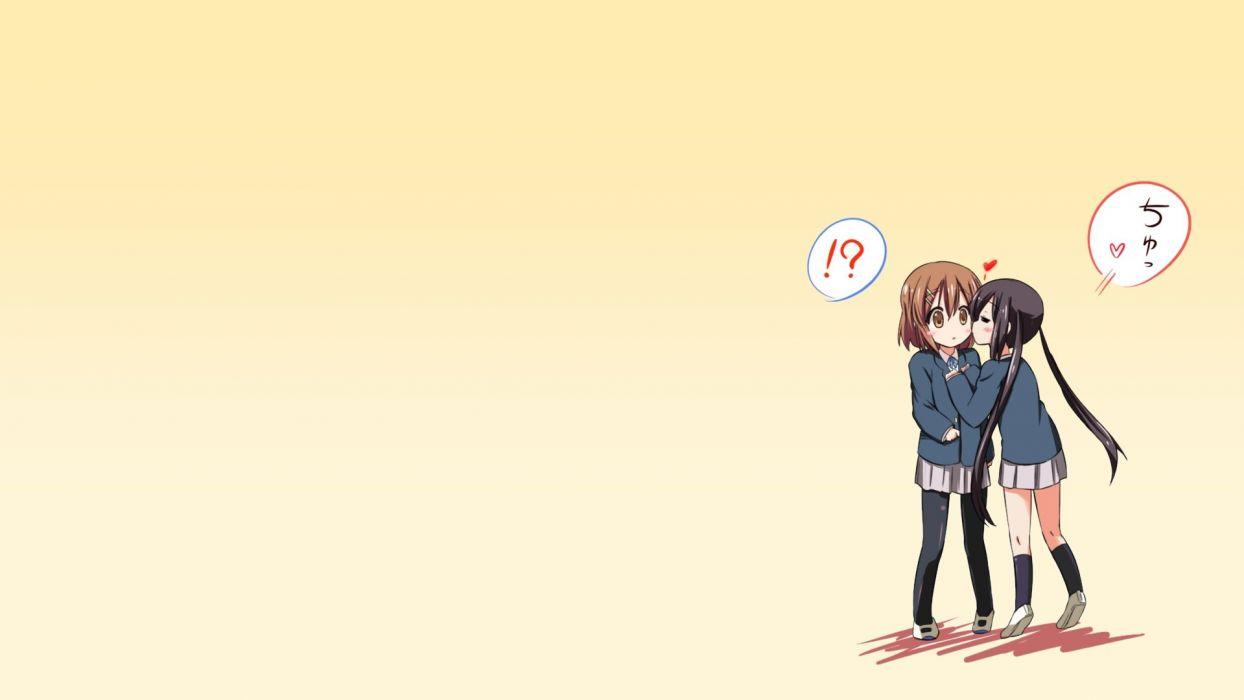 K-ON! Hirasawa Yui Nakano Azusa simple background anime girls wallpaper