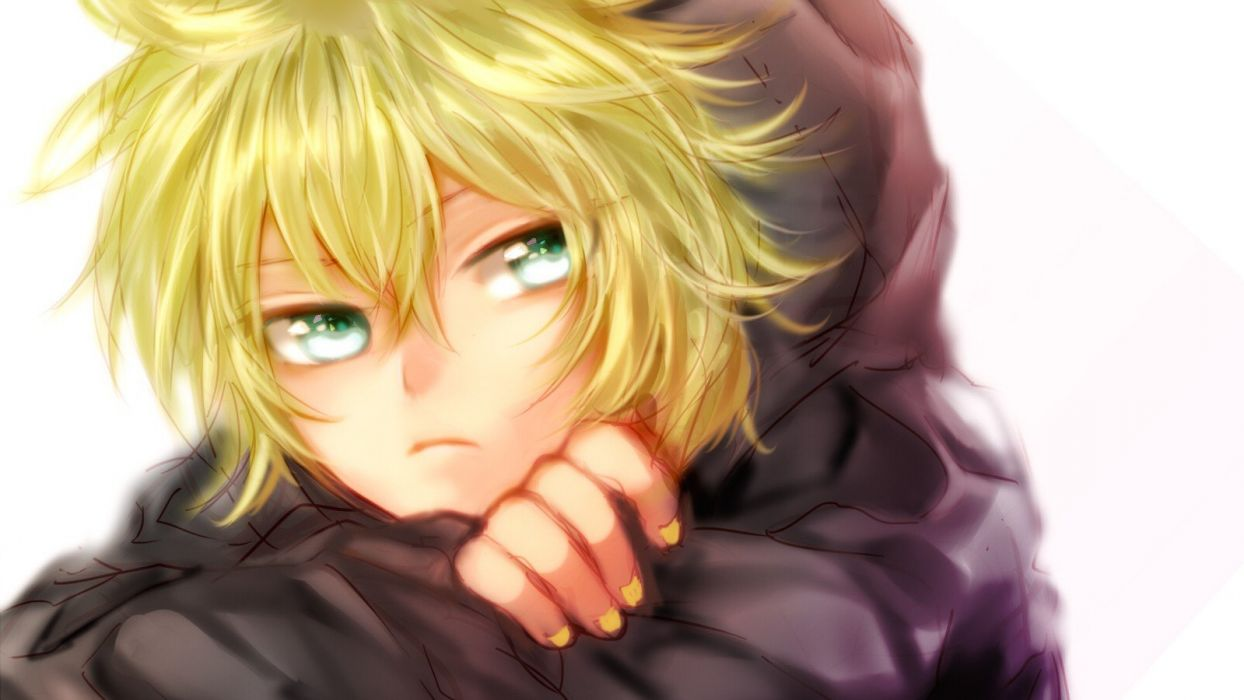 Vocaloid kagamine len green eyes anime boys wallpaper