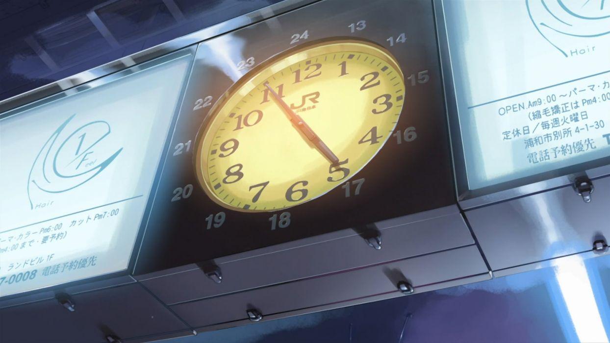 clocks Makoto Shinkai train stations 5 Centimeters Per Second wallpaper