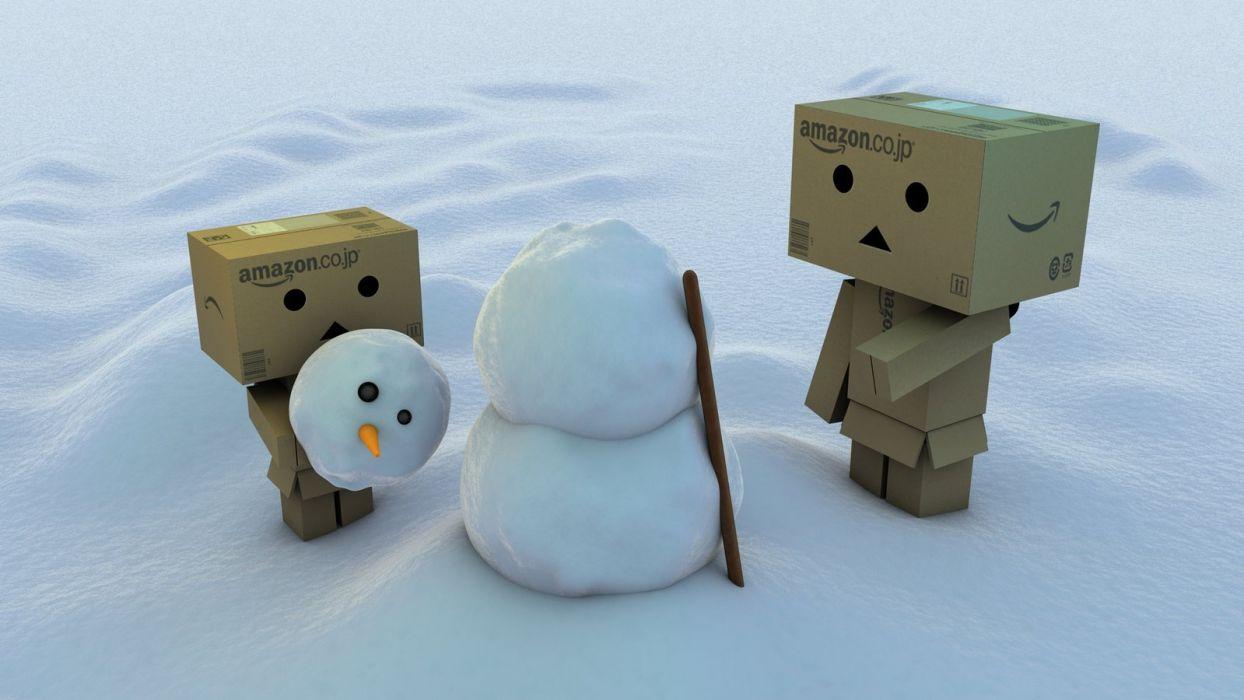 Danbo meets Snowman wallpaper