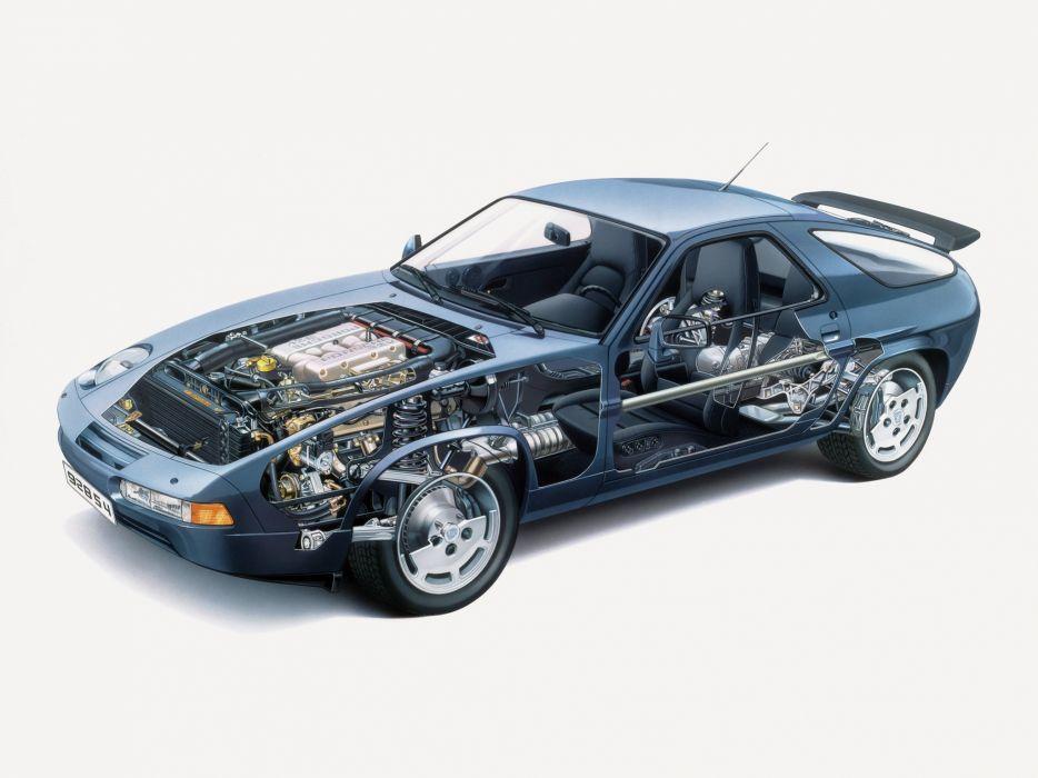 1986 Porsche 928 S-4 supercar engine interior     g wallpaper