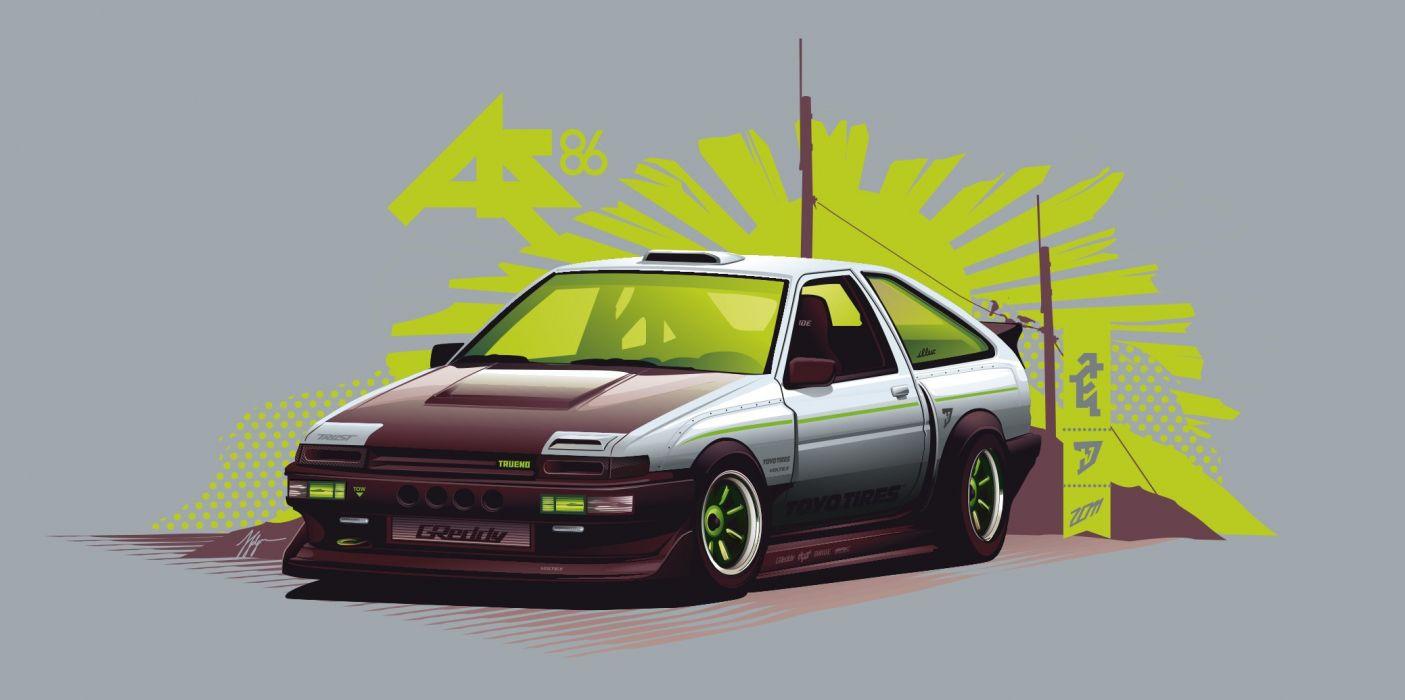 ae86 trueno vector wallpaper