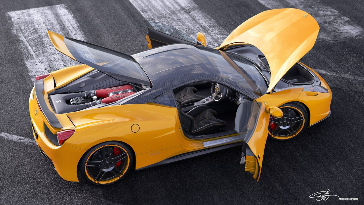 Ferrari 458italia NovitecRosso Runway Yellow wallpaper