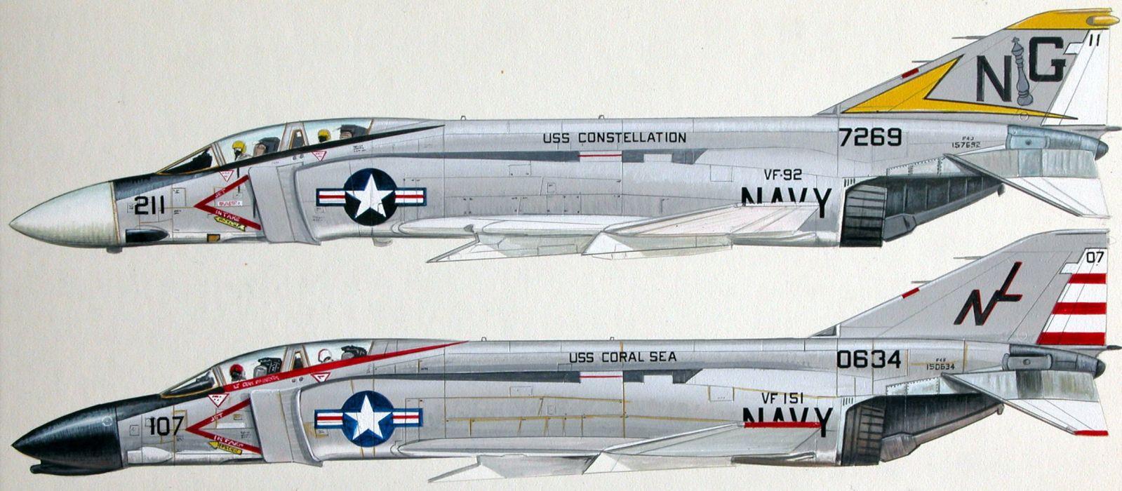 F-4 fighter jet bomber phantom airplane plane military (13) wallpaper