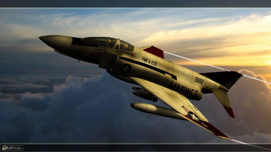 F-4 fighter jet bomber phantom airplane plane military (18) wallpaper