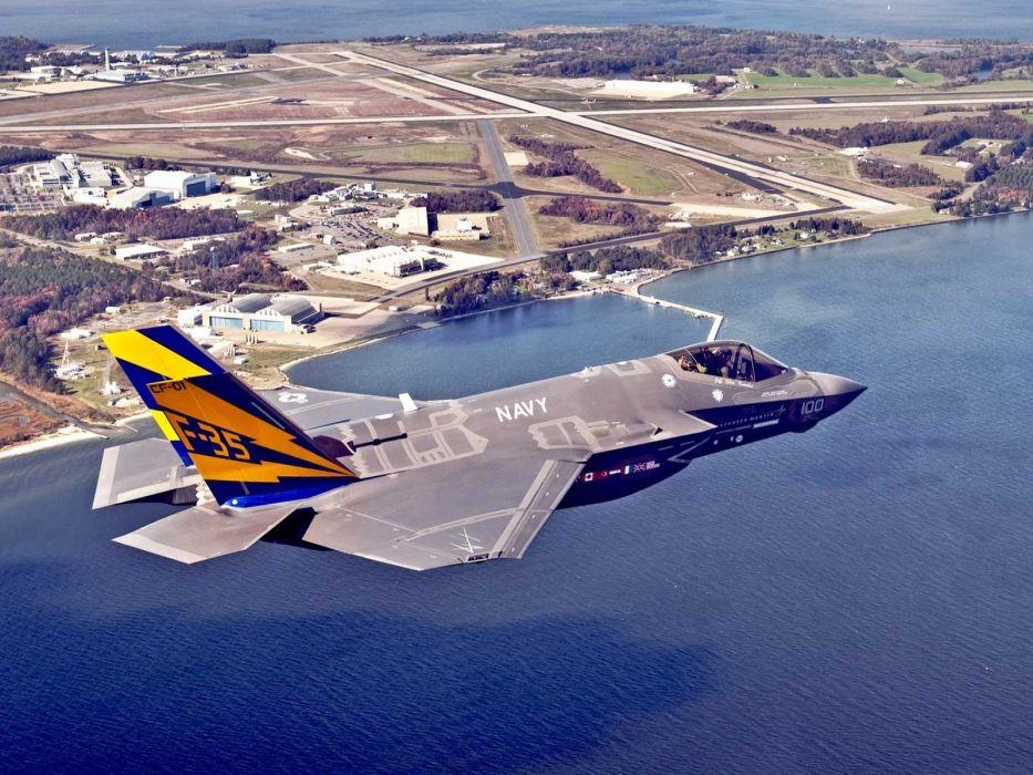 F-35 military fighter jet airplane plane lightning bomber joint (63) wallpaper