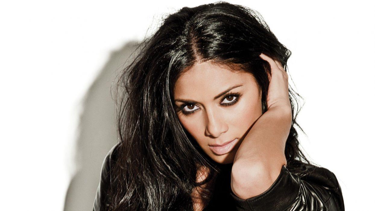 brunettes women celebrity brown eyes Nicole Scherzinger singers white background wallpaper