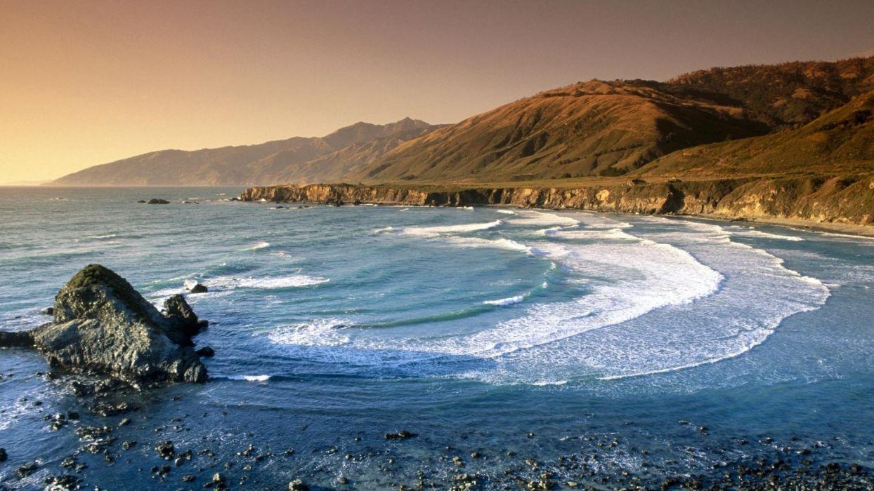 California range Santa Lucia sand dollar beaches wallpaper