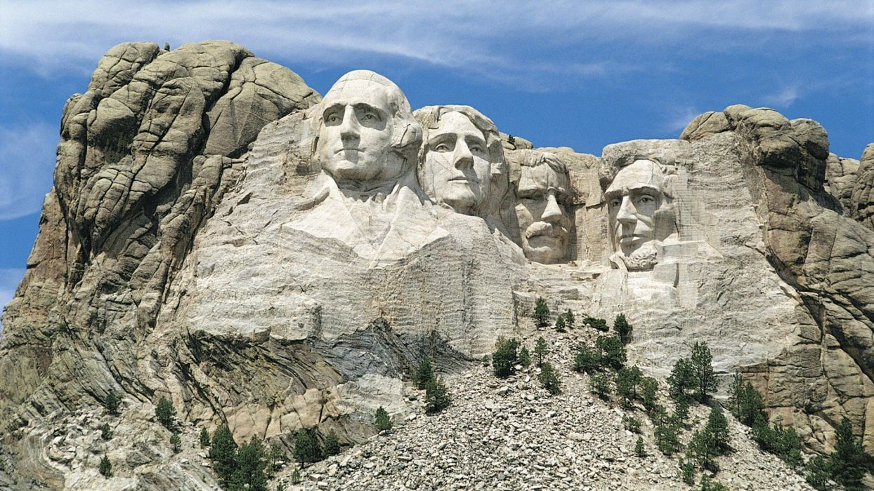 landscapes nature Abraham Lincoln Mount Rushmore Presidents of the United States George Washington Theodore Roosevelt Thomas Jefferson wallpaper
