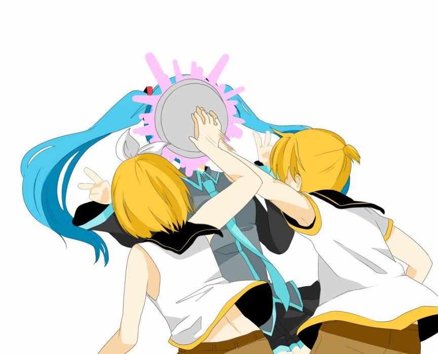 blondes women Vocaloid Hatsune Miku long hair Kagamine Rin blue hair Kagamine Len short hair twintails male cakes wallpaper