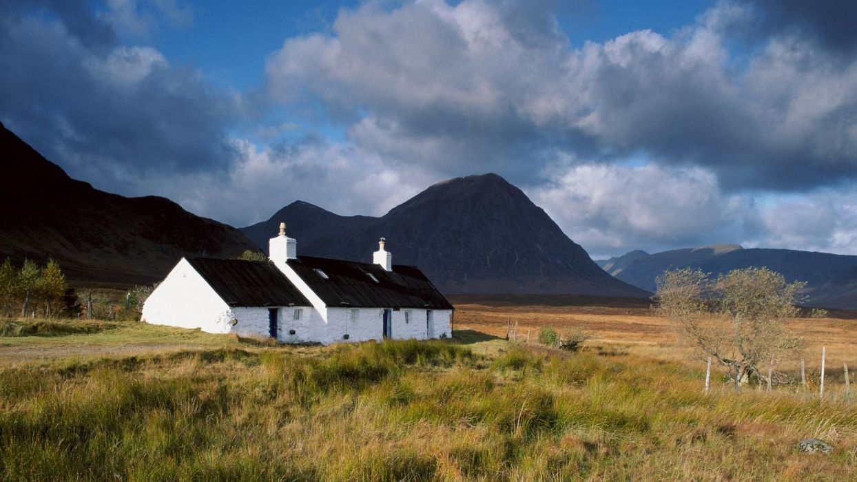 black rocks Scotland cottage wallpaper
