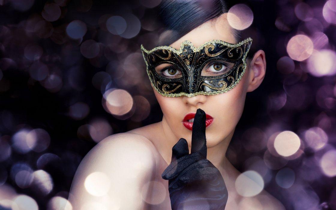 women gloves bokeh masks faces fingers on lips Venetian masks wallpaper