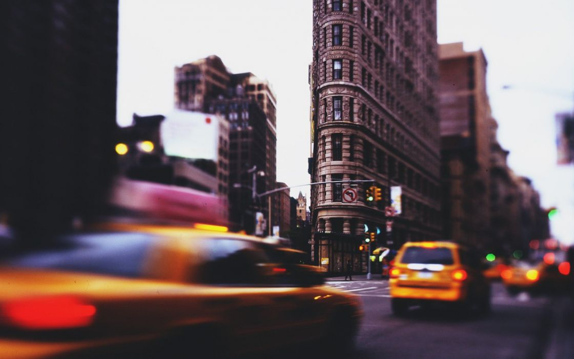 cityscapes streets corner vintage cars models traffic New York City taxi long exposure street signs miniature effect wallpaper