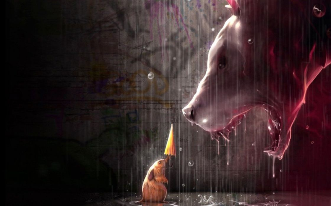 lights rain artistic yellow animals dogs artwork necklaces umbrellas mice Bloodhound wallpaper