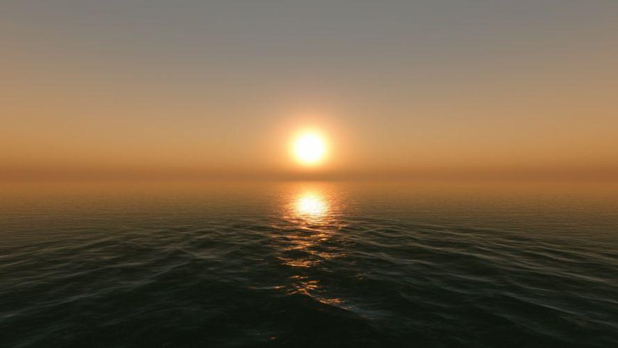 sunset landscapes nature screenshots game sea wallpaper