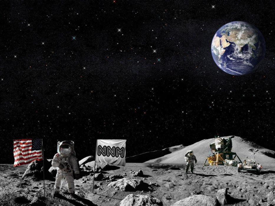 outer space Moon Earth flags USA wallpaper