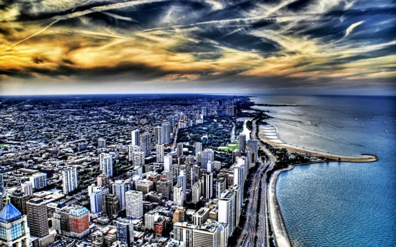 coast cityscapes Chicago buildings skyscrapers Lake Michigan HDR photography Great Lakes beaches wallpaper