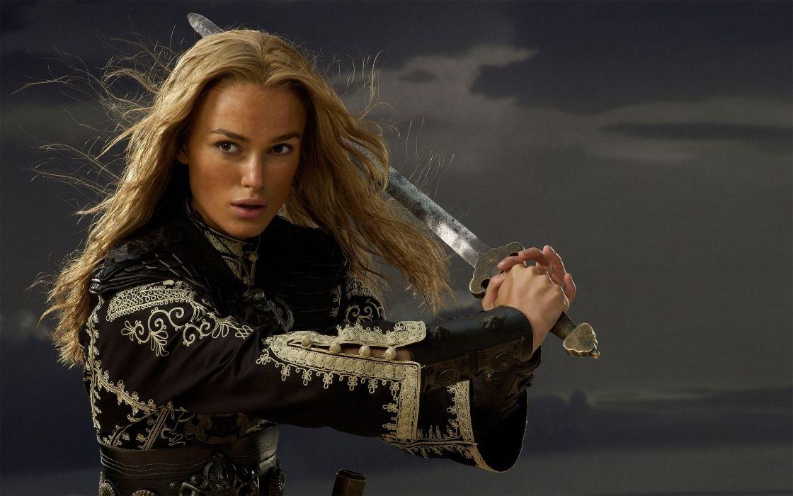 blondes women Keira Knightley Pirates of the Caribbean swords Elizabeth Swann wallpaper