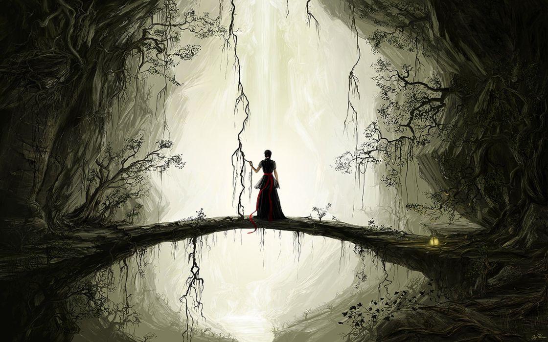 women fantasy dark forests wallpaper