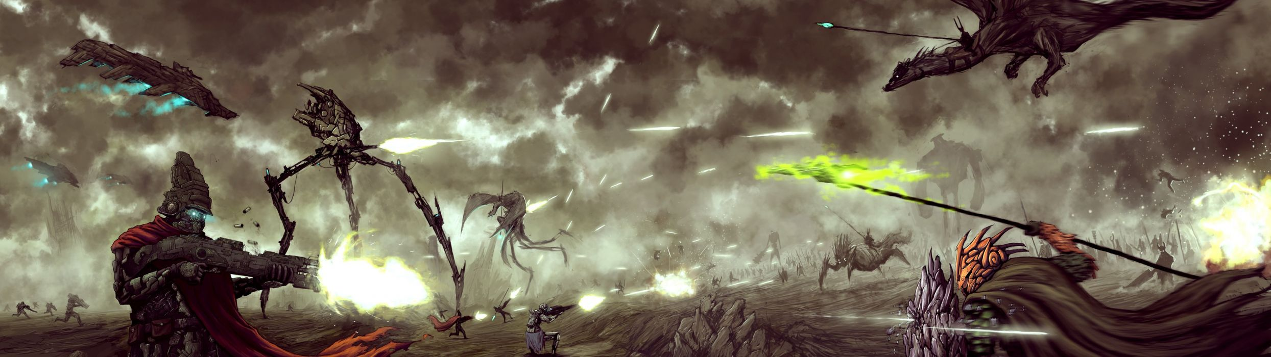 war science fiction artwork wallpaper