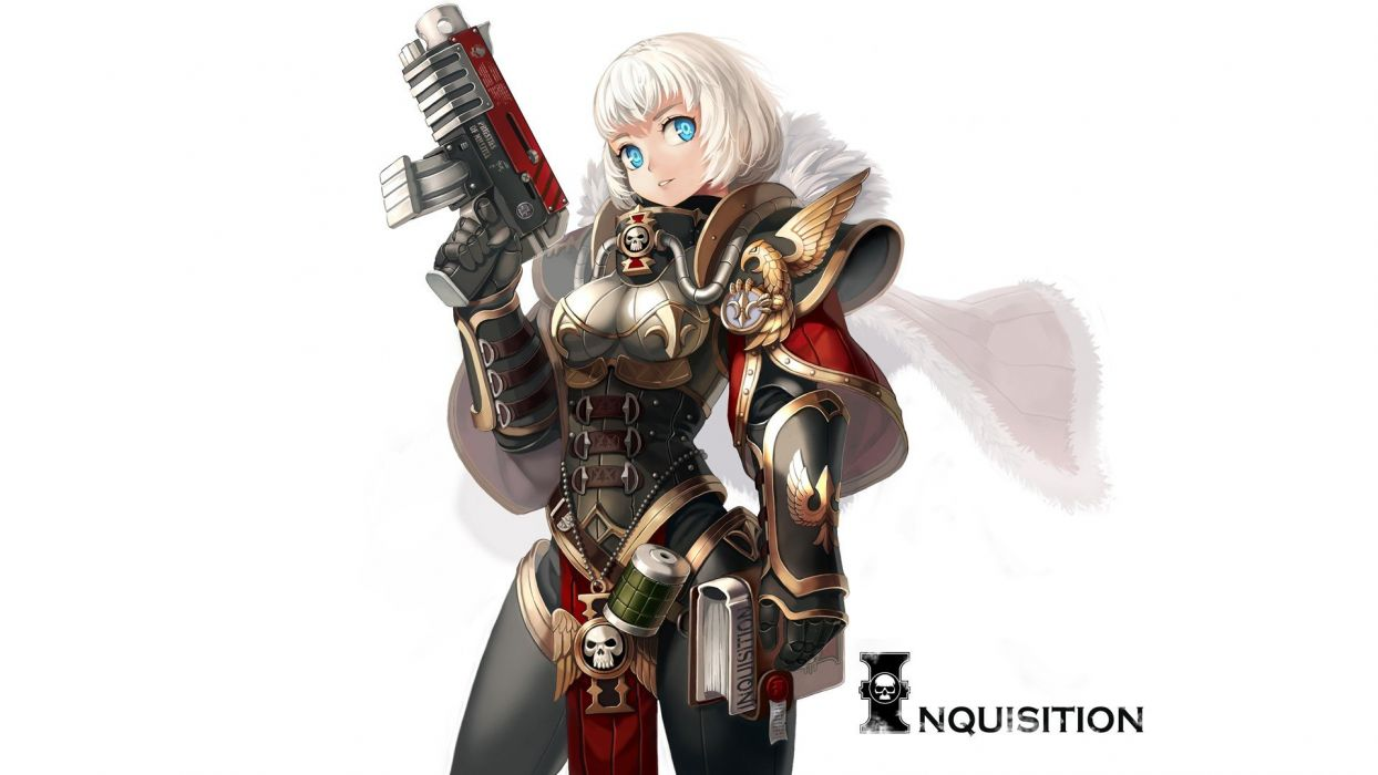 weapons armor short hair white hair Sisters Of Battle simple background anime girls white background Warhammer 40 000 wallpaper