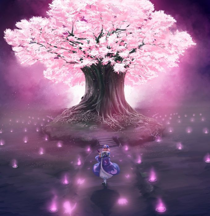 video games Touhou cherry blossoms trees anime Saigyouji Yuyuko  Japanese clothes wallpaper