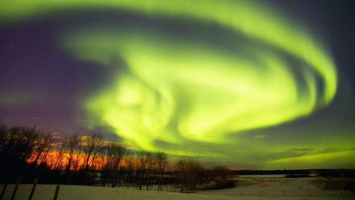 winter aurora borealis Canada Alberta wallpaper