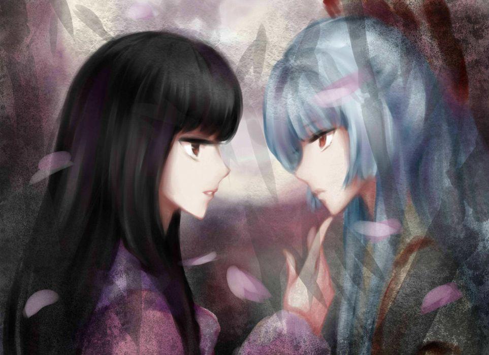 video games Touhou Fujiwara no Mokou Houraisan Kaguya anime girls wallpaper