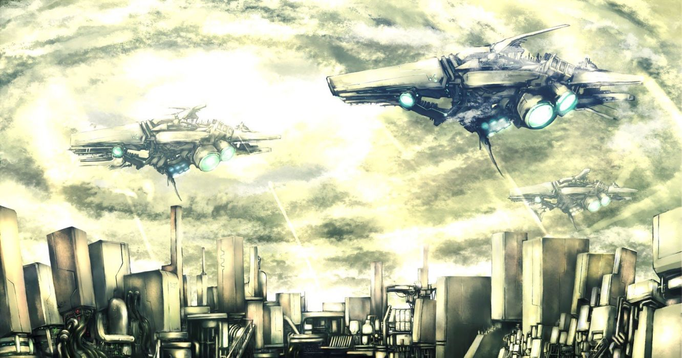 clouds futuristic airship cities wallpaper
