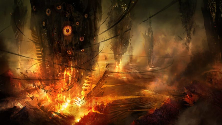eyes fire concept art science fiction alien landscapes cyclone Philip Straub wallpaper