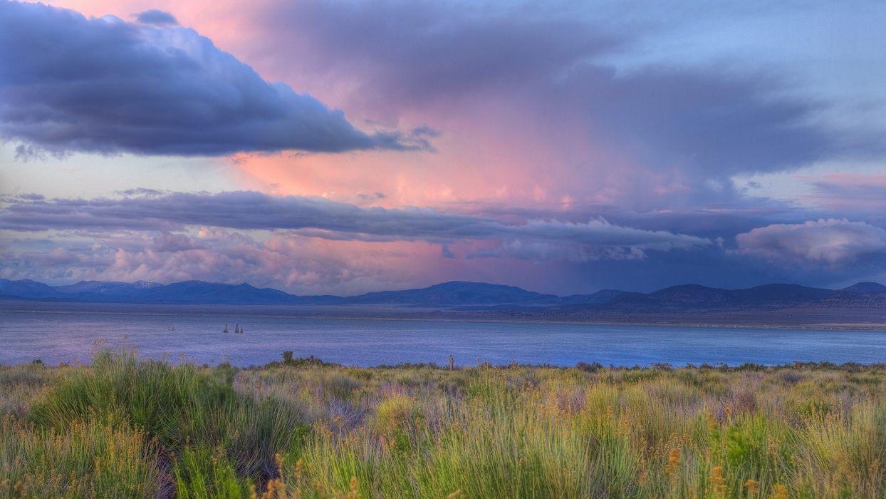 sunset storm California Mono Lake wallpaper