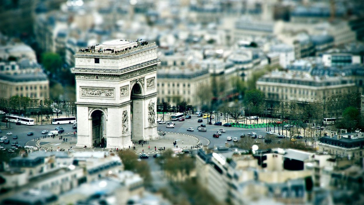 Paris urban digital art tilt-shift Arc De Triomphe  photo manipulation wallpaper