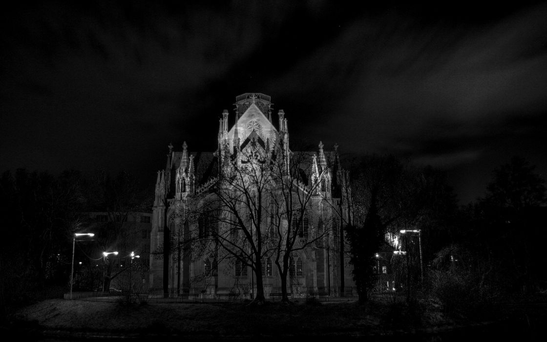 night grayscale cathedrals wallpaper
