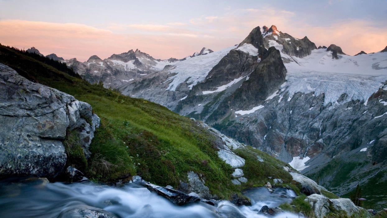 mountains landscapes nature snow glacier Washington State wallpaper