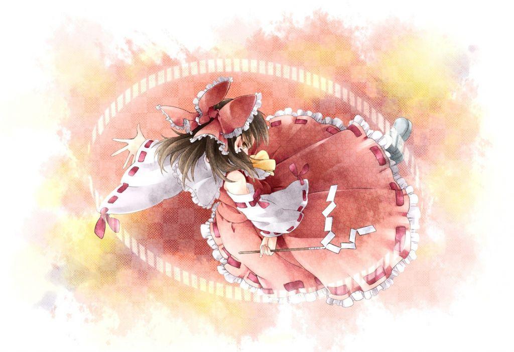 video games Touhou Miko Hakurei Reimu anime girls detached sleeves wallpaper