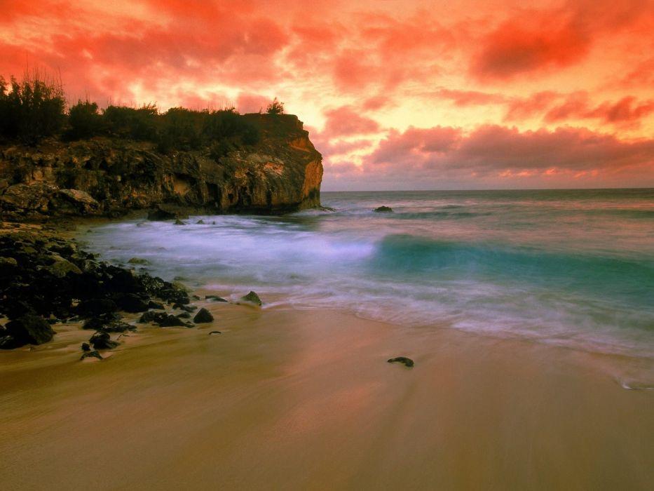 sunset clouds landscapes nature coast beaches wallpaper