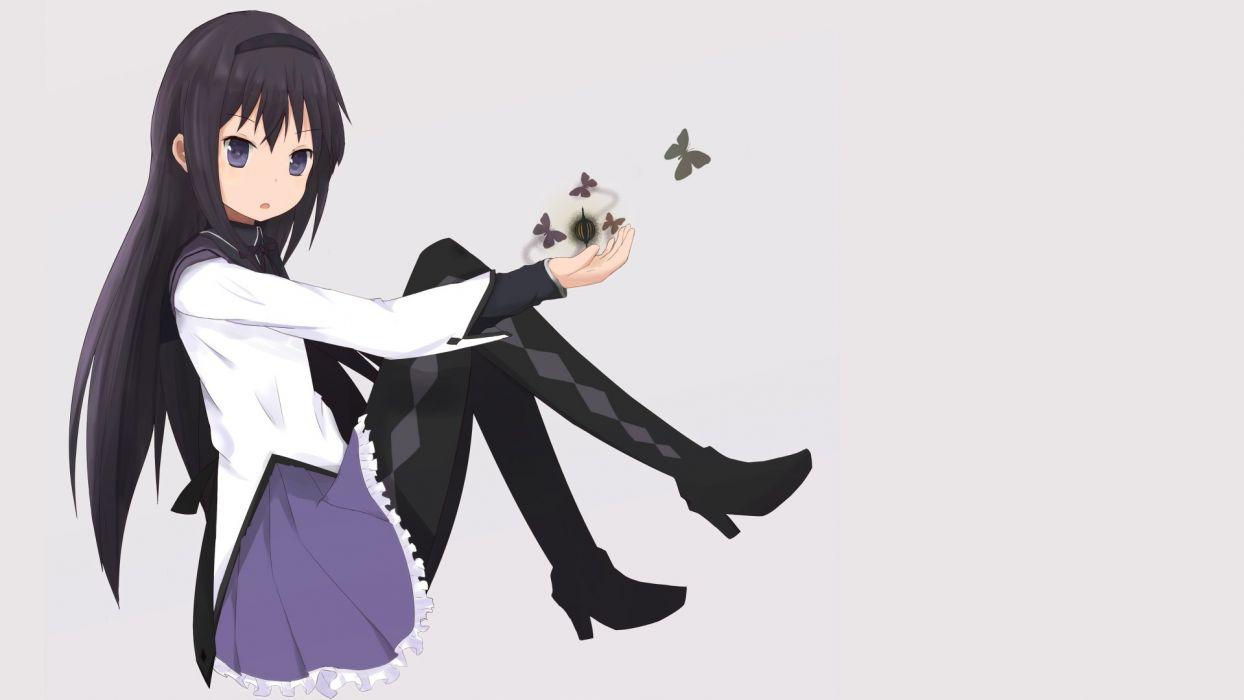 skirts Mahou Shoujo Madoka Magica anime Akemi Homura purple eyes simple background anime girls butterflies wallpaper