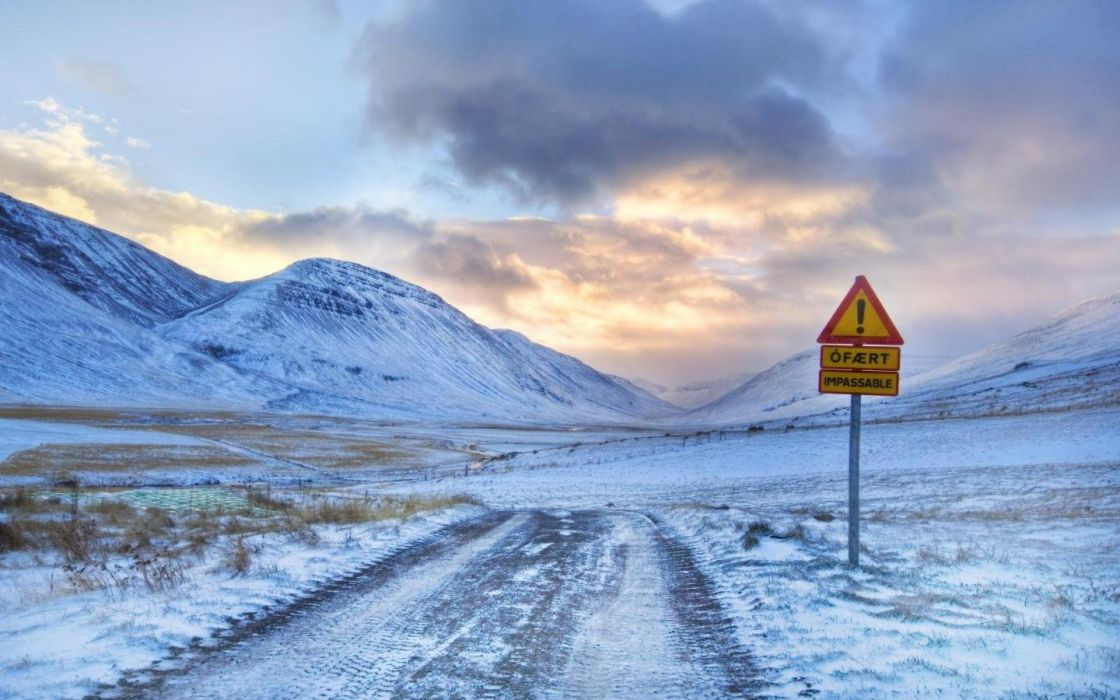 clouds nature snow roads snow landscapes roadsigns country road wallpaper