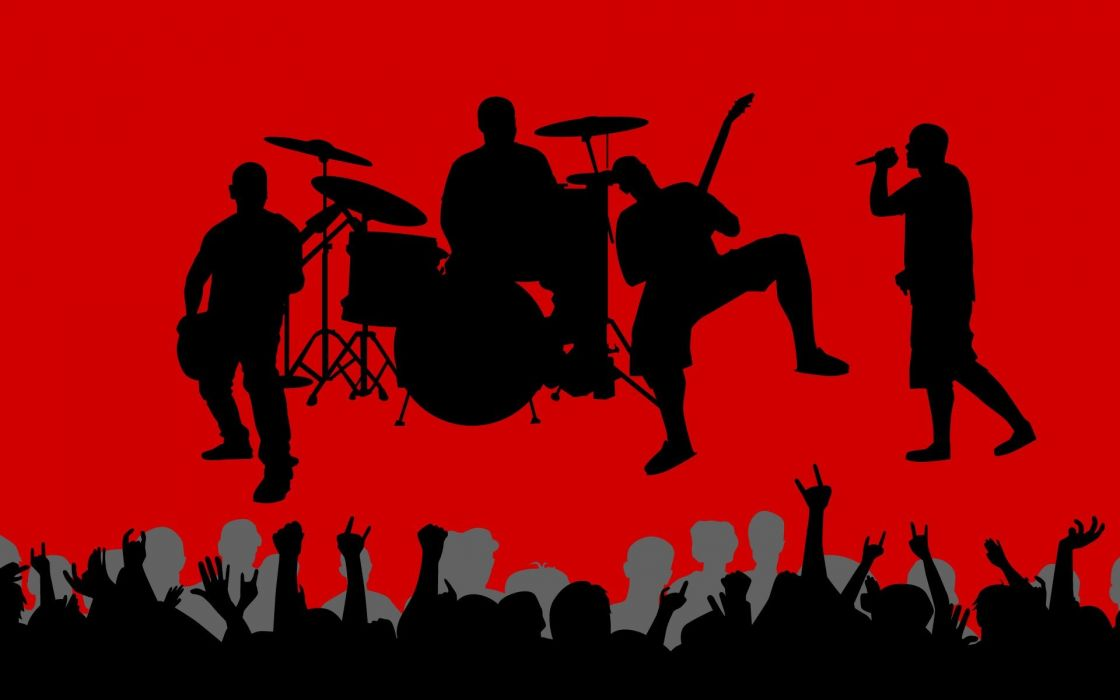 music vectors shadows crowd band red background wallpaper