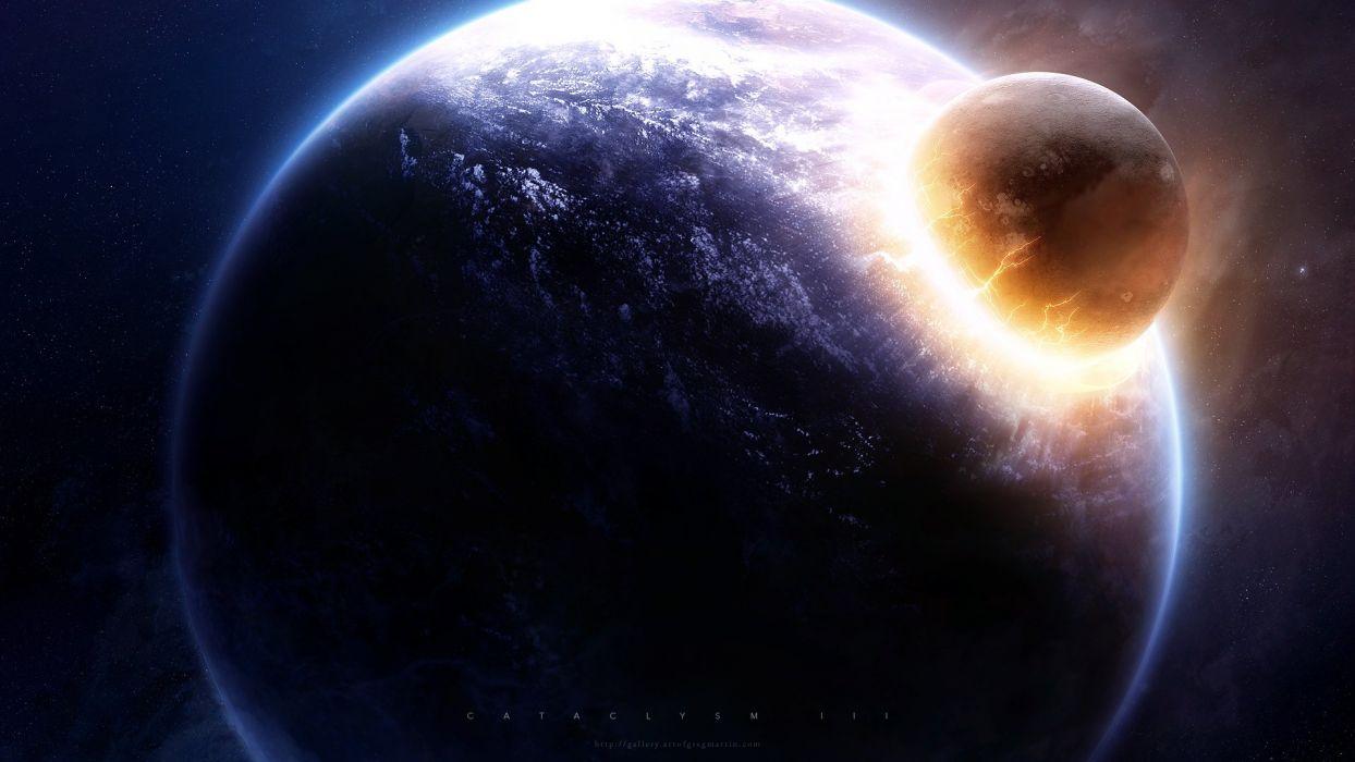 planets crash cataclysm space Greg Martin wallpaper