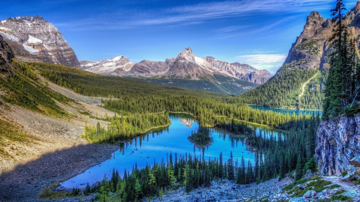 water mountains clouds landscapes nature snow trees forests rocks lakes Rocky Mountains wallpaper